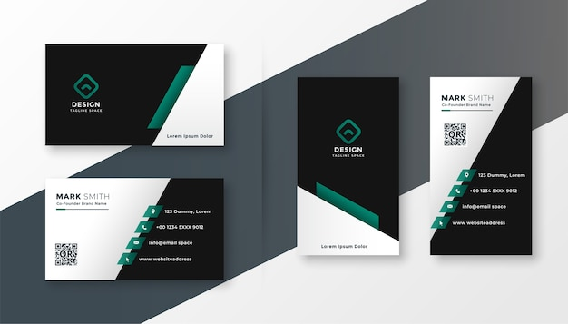 現代の企業のビジネスカードのデザインテンプレート 無料ベクター