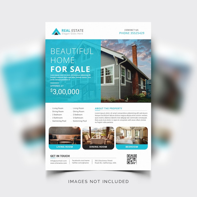 Modern corporate flyer template for real estate or realtor agents Free Vector