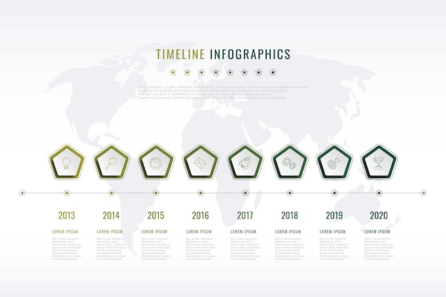 Modern corporate history visualisation with pentagonal elements Premium Vector