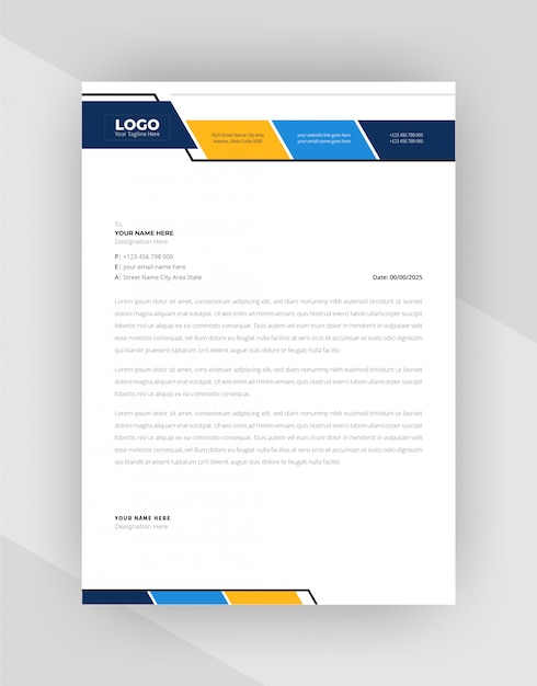 Modern corporate style letterhead template design. Free Vector