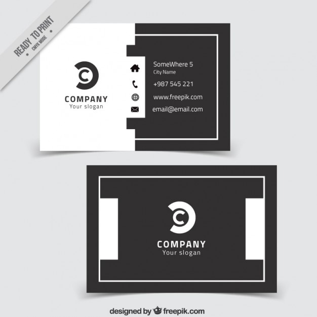 Modern corporative card grey and white
