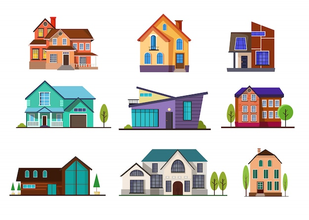 Modern cottage houses set Free Vector