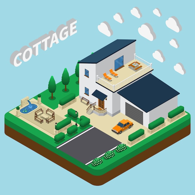 Modern cottage isometric Free Vector