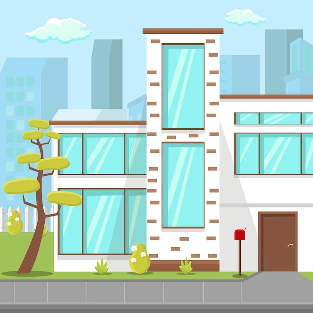 Modern countryside house flat vector illustration Premium Vector