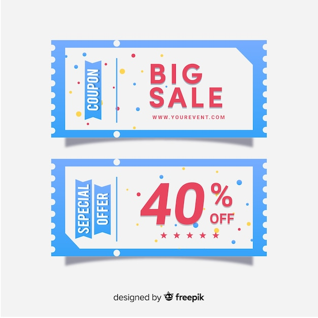 modern coupon template with flat design vector free download