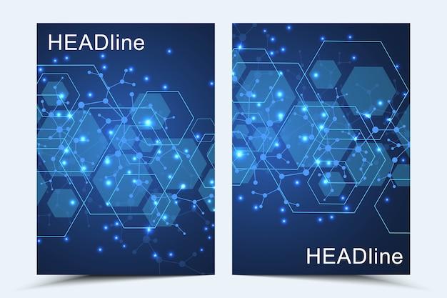 モダンカバー。線と点を結んで抽象芸術構成。波の流れ。デジタル技術、科学または医療の概念。 Premiumベクター