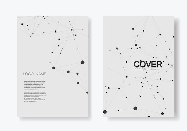 Modern cover brochure with technological Premium Vector