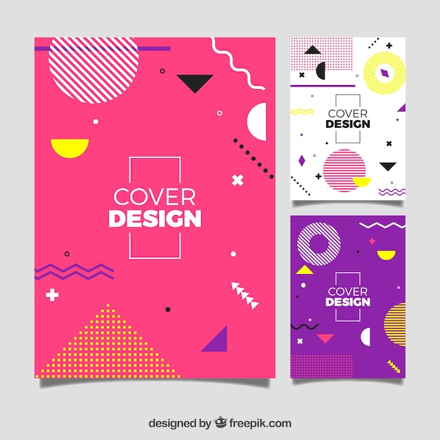 Modern cover template set with geometric design Free Vector