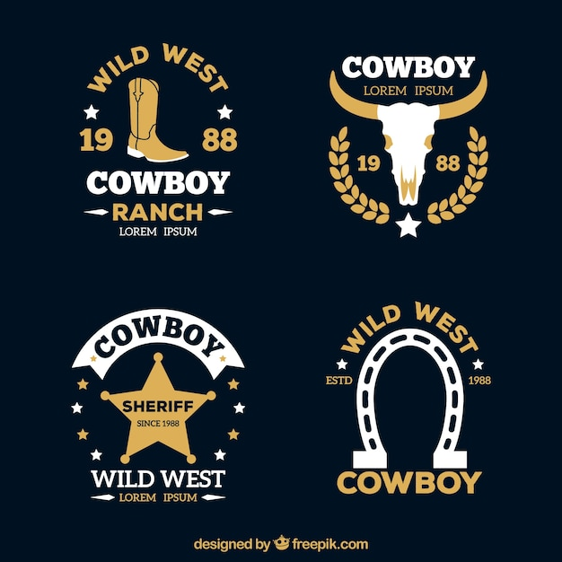 Modern cowboy label pack Free Vector