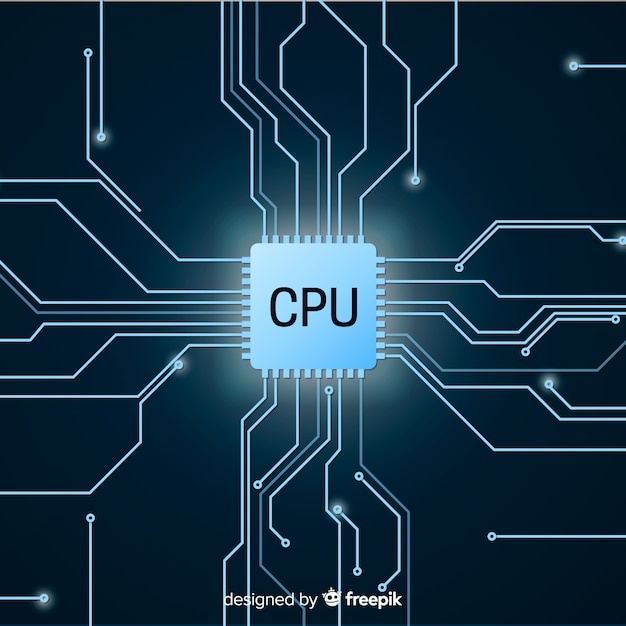 Modern cpu background with gradient style Free Vector