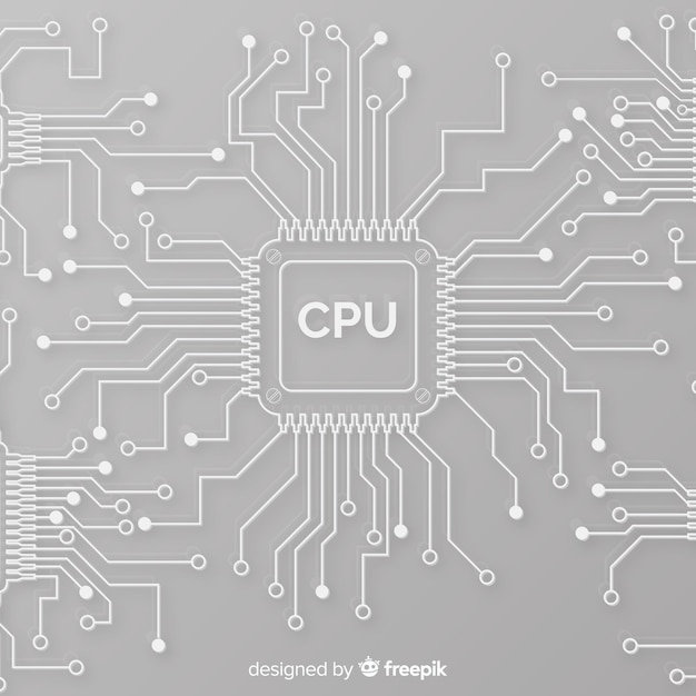 Modern cpu background with linear style Free Vector