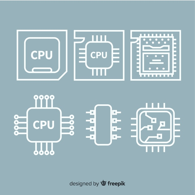 Modern cpu collectio Free Vector