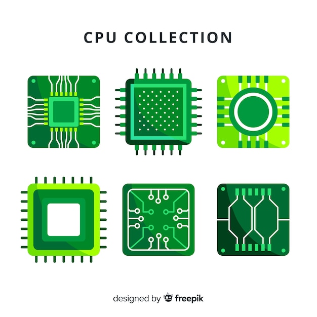 Modern cpu collection with flat design Free Vector