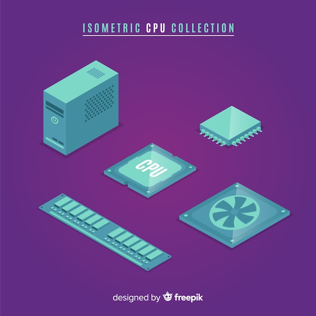 Modern cpu collection with isometric view Free Vector