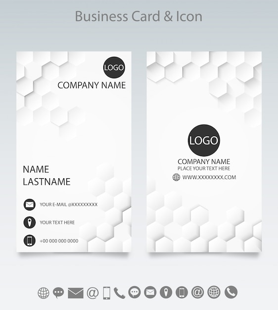 Modern creative business card template and icon. Premium Vector