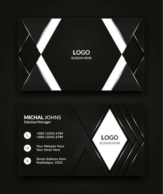 Modern creative and clean business card template design in black and white color vector background. Premium Vector