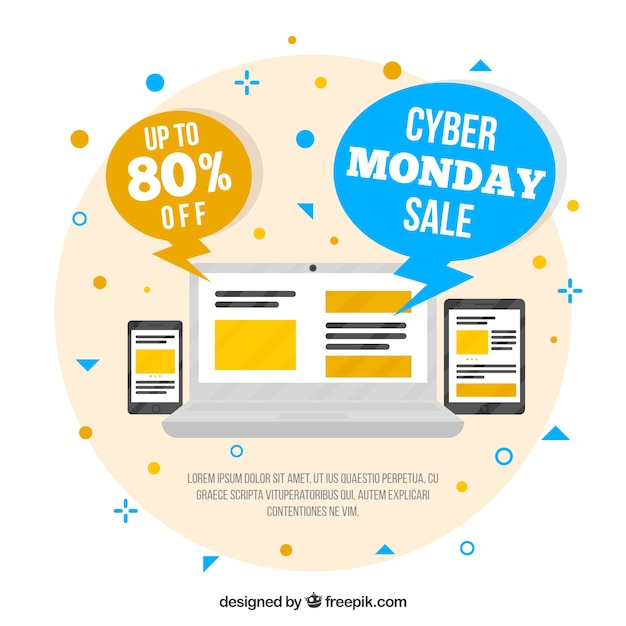 Modern creative cyber monday design in flat style