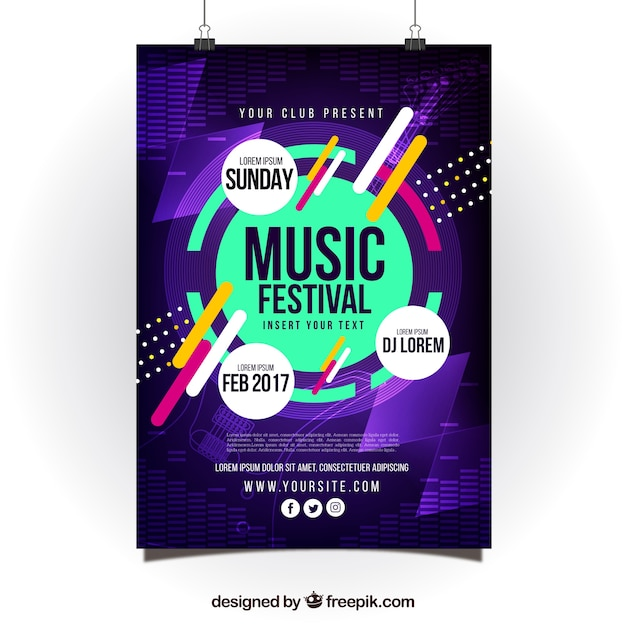 Modern creative poster design for music party Free Vector
