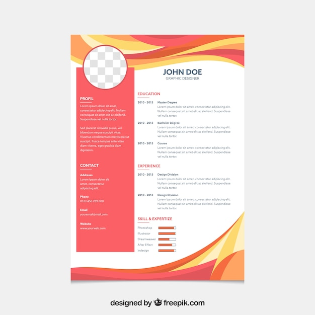 Modern curriculum template with abstract waves