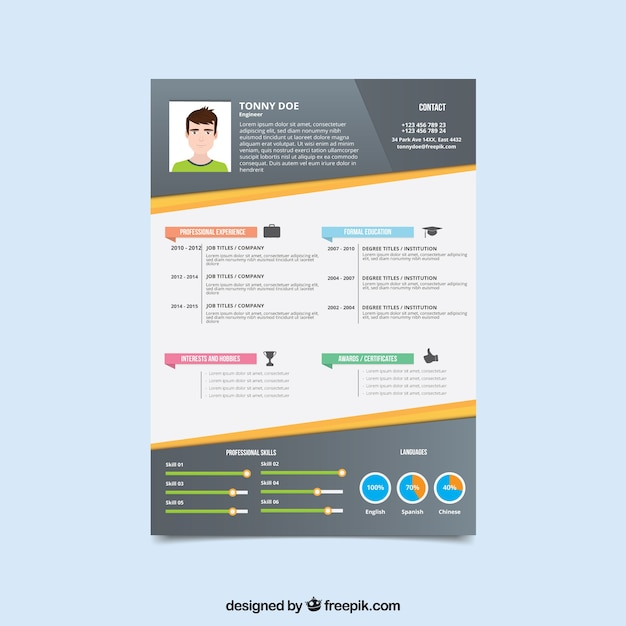 Modern curriculum template with graphs Free Vector