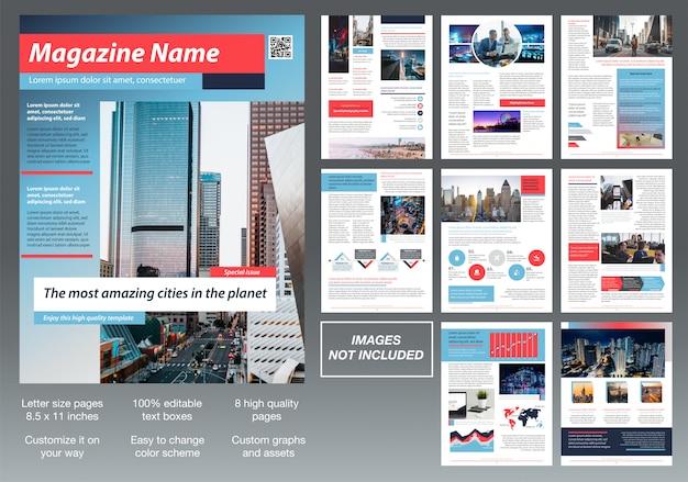 Modern custom magazine brochure template design Premium Vector