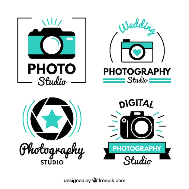 Modern cute photo studio logos Free Vector