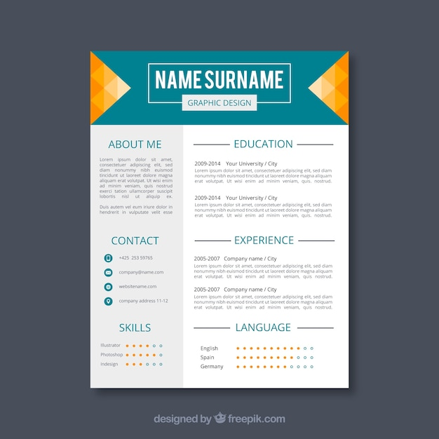 modern cv graphic designer template vector
