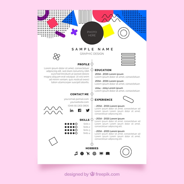 Modern cv template in memphis style Free Vector