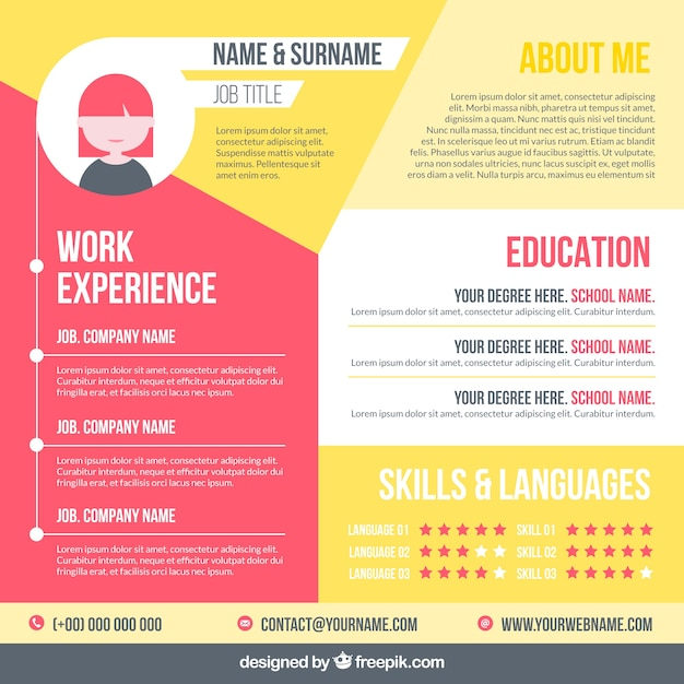 Modern cv template with elegant style Free Vector