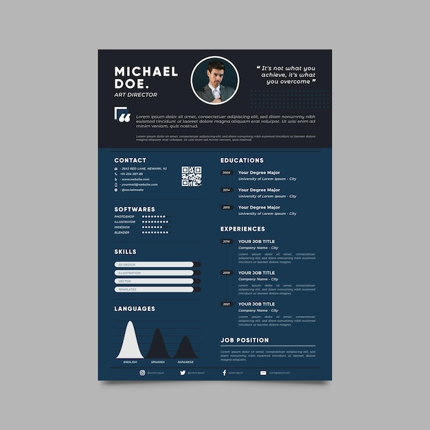 Modern cv template with photo Free Vector