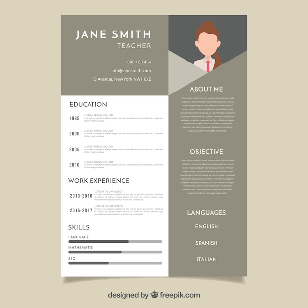 Modern Cv Template Vector Free Download