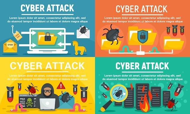 Modern cyber attack banner set Premium Vector