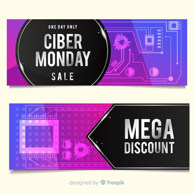 Modern cyber monday banners with gradient style Free Vector
