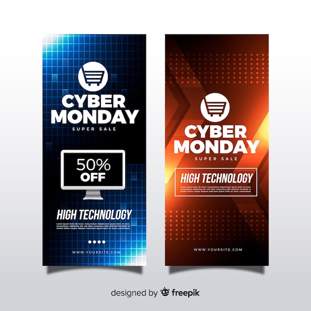 Modern cyber monday banners with realistic design Free Vector