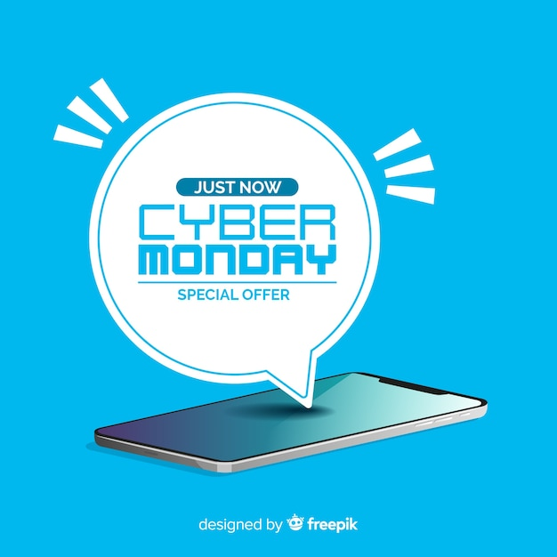 Modern cyber monday composition with flat design Free Vector