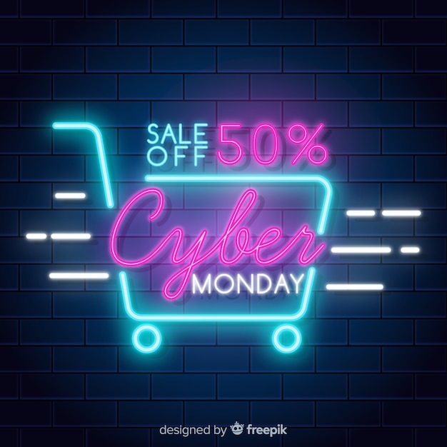 Modern cyber monday composition with neon style Free Vector