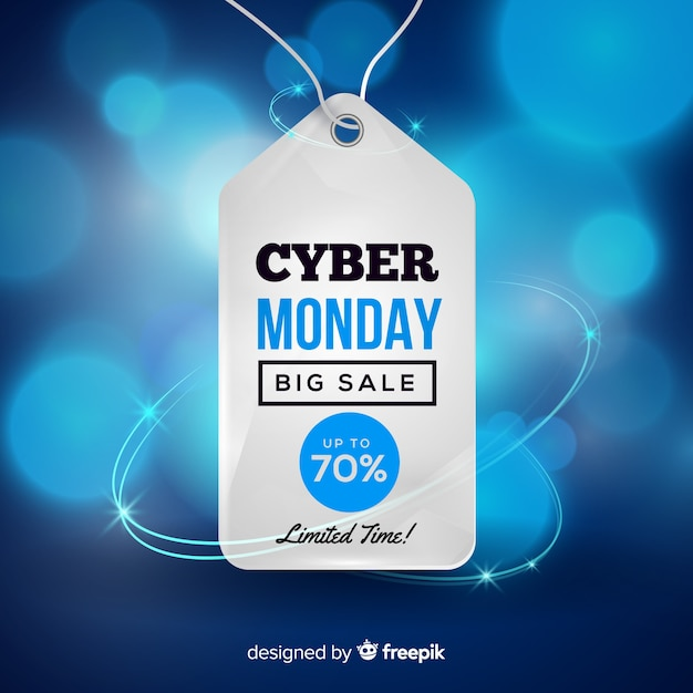 Modern cyber monday composition with realistic design Free Vector