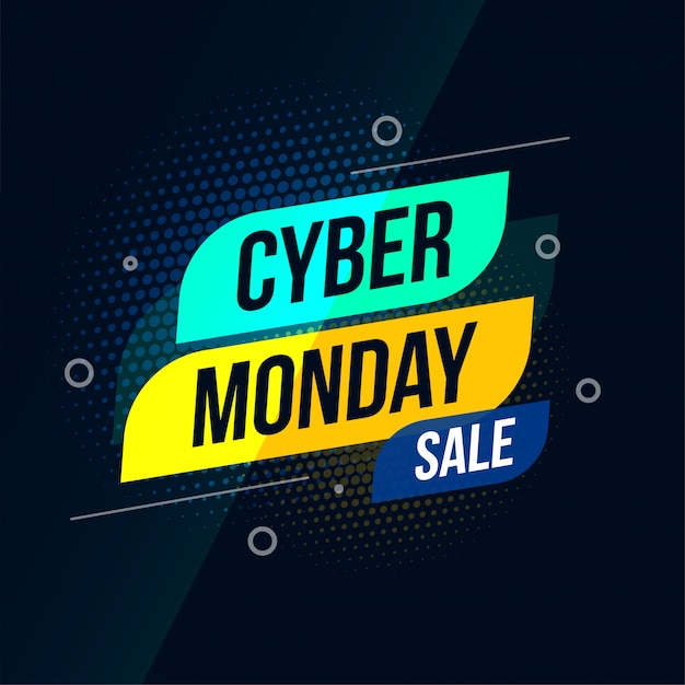 Modern cyber monday sale stylish banner design Free Vector