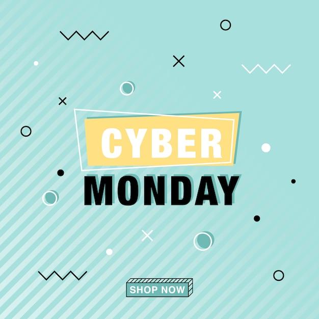 Modern cyber monday vector banner in memphis style Premium Vector