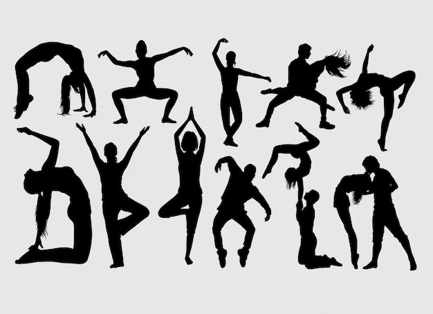 Modern dance male and female action silhouette Premium Vector