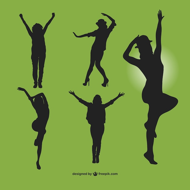Modern dancers silhouettes set Free Vector