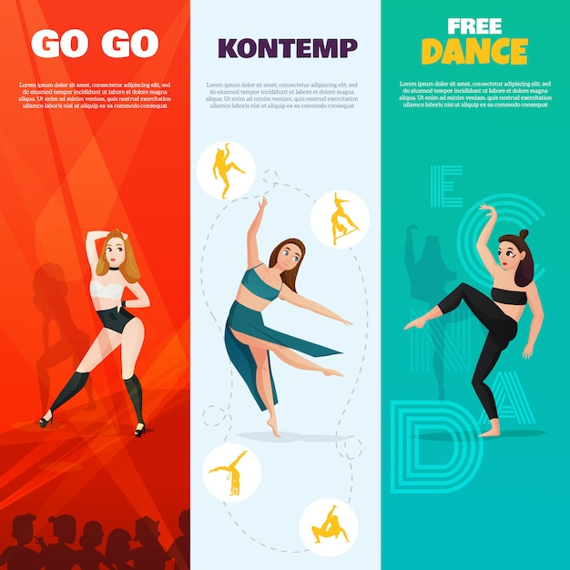 Modern dances vertical banners Free Vector