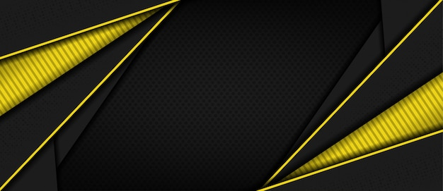 Modern dark 3d abstract background with yellow line shape Premium Vector