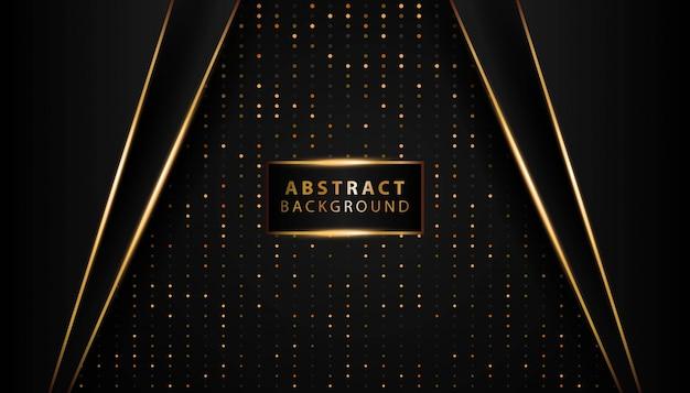Modern dark background shine gold line Premium Vector