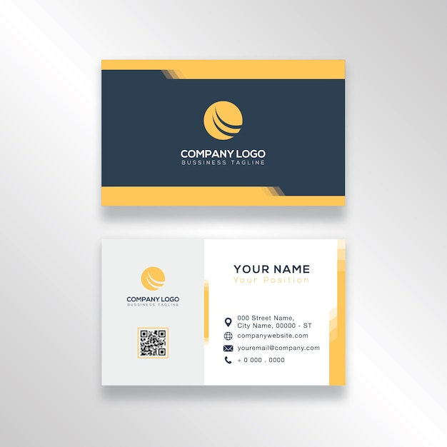 modern dark blue and yellow business card design simple vector
