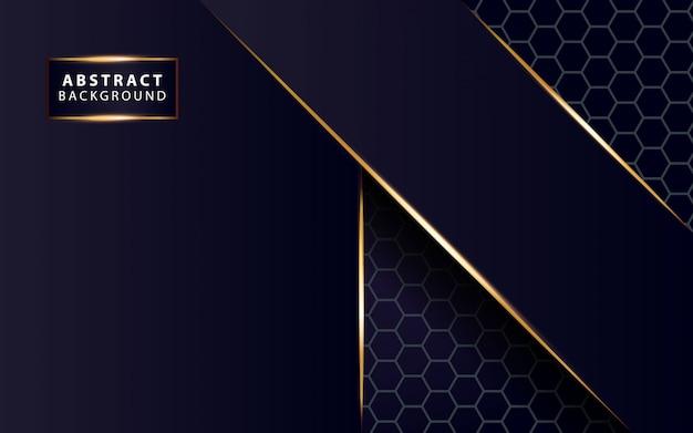 Modern dark blue  background shine gold line Premium Vector