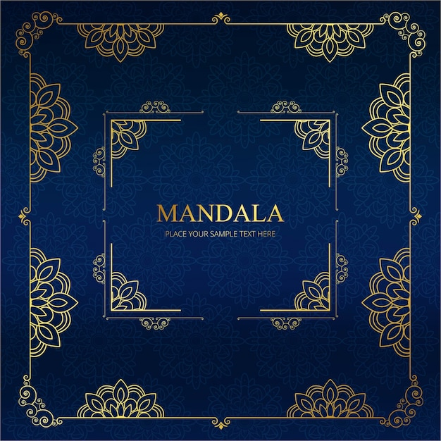 Modern dark blue mandala background