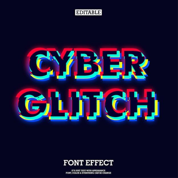 Modern dark cyber glitch typeface effect Premium Vector