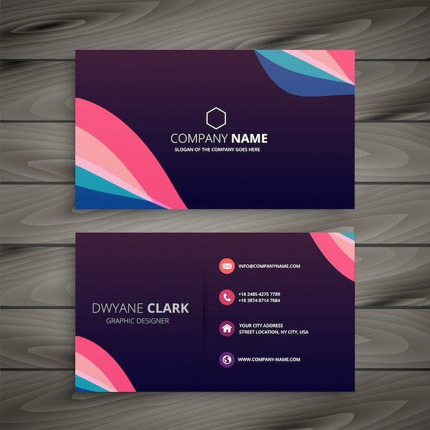 modern dark purple abstract business card Free Vector