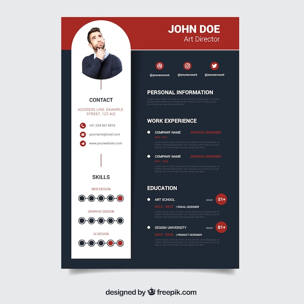 Modern dark resume template vector free download modern dark resume template free vector altavistaventures Image collections